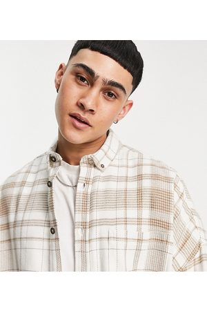 ASOS Homem Casual - Volume overshirt in ecru and brown flannel check-Neutral
