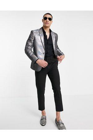 ASOS Homem Blazers - Slim multi shimmer blazer in silver-Grey
