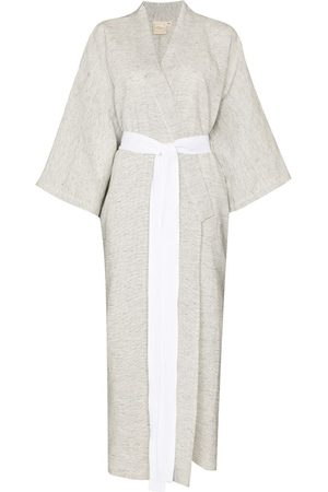 Deiji Studios Stripe print tied waist robe