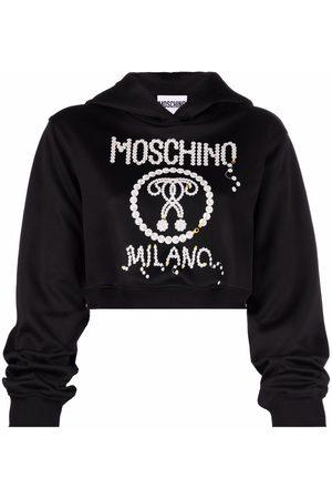 Moschino Pearl logo-print cropped hoodie