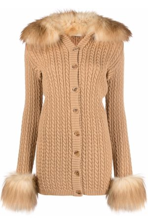 Saint Laurent Mulher Camisolas - Button-fastening cable-knit cardigan