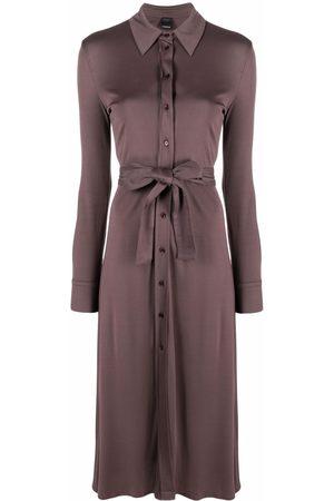 Pinko Mulher Vestidos Casual - Tied-waist long-sleeve shirtdress