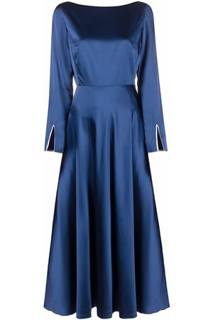There Was One Contrast-trim satin flared long dress