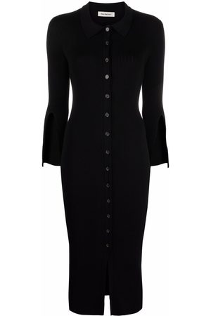 There Was One Mulher Vestidos Casual - Ribbed-knit polo-collar shirt dress