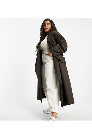ASOS Mulher Gabardinas - ASOS DESIGN Curve waterfall trench coat in brown