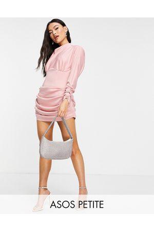 ASOS Mulher Vestidos de Festa - Petite structured waist mini dress with drape detail in rose-Pink
