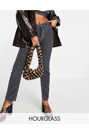 ASOS Mulher Retos - Hourglass mid rise '90s' straight leg jeans in granite cord-Grey