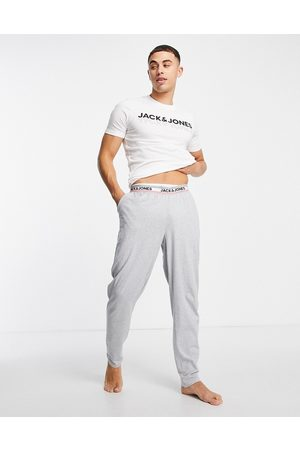 JACK & JONES Homem Conforto - Lounge t-shirt & bottoms set with chest logo in white and grey-Multi
