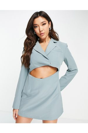 Aria Cove Cut out blazer dress with added shoulder pad detail in teal-Green