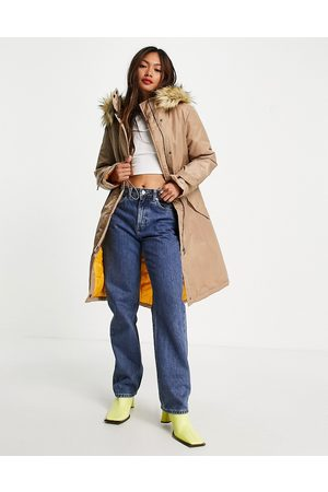 French Connection Mulher Parkas - Faux fur lined parker jacket in beige and mustard-Multi