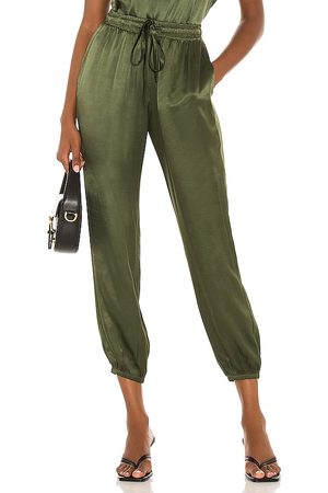 Nation LTD Mulher Calças - Del Ray Satin Dressed Up Pant in - Green. Size L (also in M, S, XS).