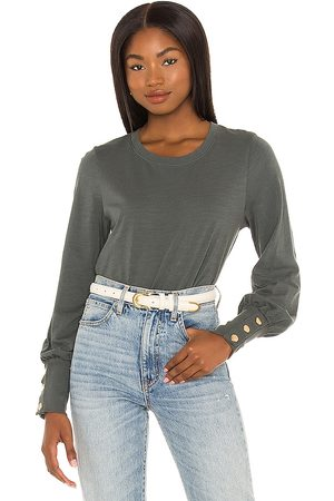 Nation LTD Mulher Tops de Cavas - Johnnie Snap Sleeve Tee in - Green,Grey. Size L (also in M, S, XS).