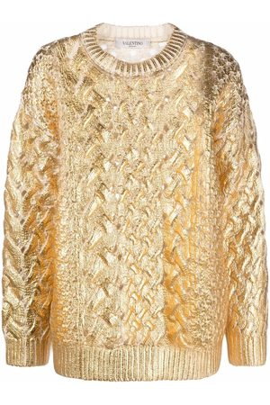 VALENTINO Mulher Camisolas - Metallized cable-knit jumper