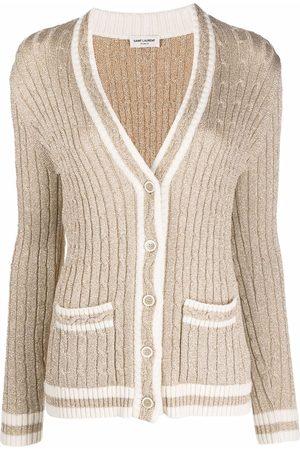 Saint Laurent Mulher Camisolas - Cable-knit cardigan
