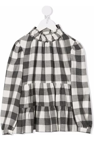 Il gufo Checked tiered blouse