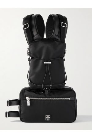 Givenchy Homem Mochilas - Venture Convertible Leather-Trimmed Nylon Backpack
