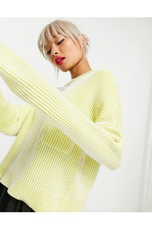 Noisy May Jumper with pocket detail in yellow stripe
