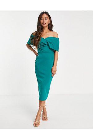 True Violet Off shoulder bodycon midi dress in emerald green