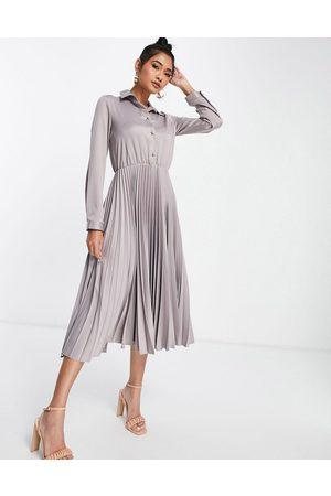 Closet Pleated satin shirt midi dress in antique grey