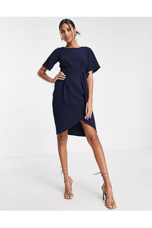 Closet Tie waist gathered pencil midi dress in navy