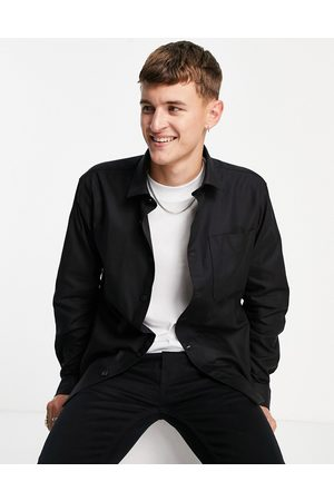 SELECTED Double pocket overshirt in black