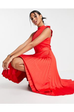 Closet High neck pleated midi dress in ruby red
