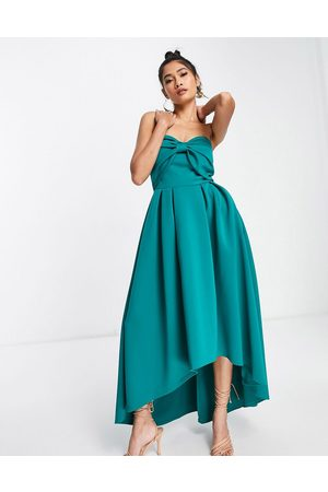 True Violet Oversized bow high low midi dress in emerald green