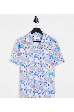 Selected Homme Relaxed fit shirt with revere collar in watercolour print Exclusive at ASOS-Multi
