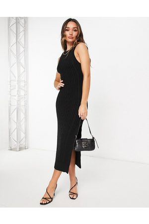 ASOS Cable knit midi dress with open back and thigh split detail in black