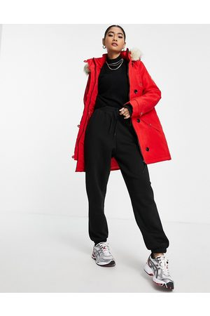 VERO MODA Parka with faux fur lined hood in red