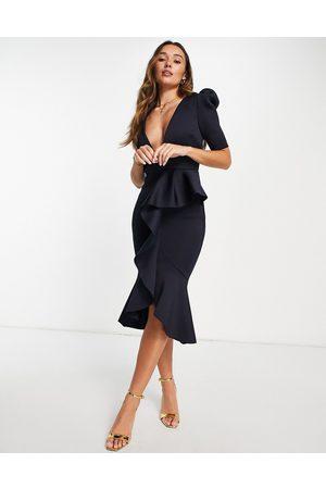 True Violet Puff shoulder plunge ruffle front midi dress in navy