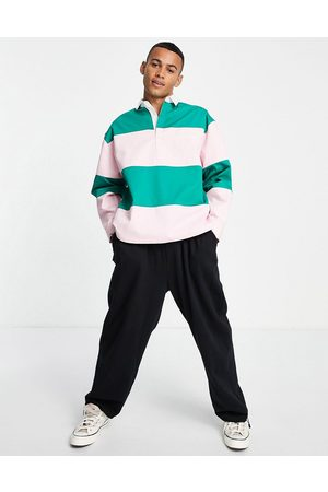 ASOS ASOS Daysocial boxy oversized rugby shirt in colour block-Pink