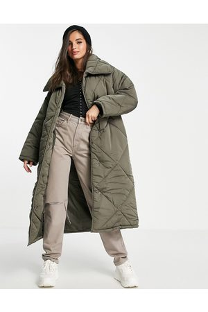 ASOS Oversized hero quilted maxi coat in charcoal-Grey