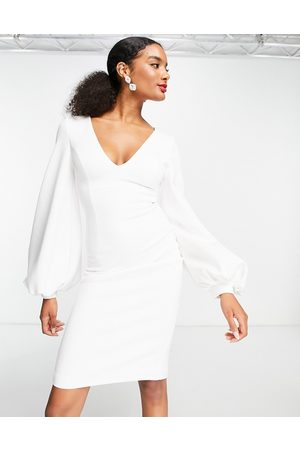 True Violet Plunge balloon sleeve midi dress in ivory-White