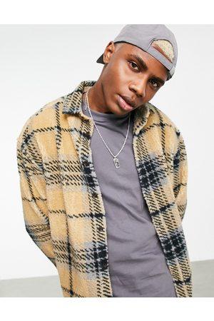 ASOS 90s oversized check shirt in teddy borg-Neutral