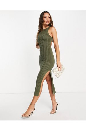 ASOS Mulher Vestidos Casual - Cable knit midi dress with open back and thigh split detail in khaki-Green