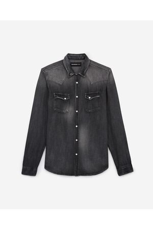 The Kooples Faded grey denim shirt with western details