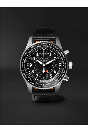 IWC SCHAFFHAUSEN Pilot's Timezoner Automatic Chronograph 46mm Stainless Steel and Leather Watch, Ref. No. IW395001