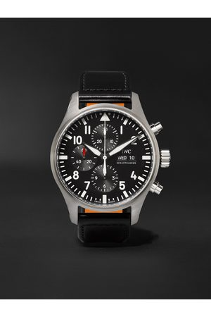 IWC SCHAFFHAUSEN Homem Relógios - Pilot's Automatic Chronograph 43mm Stainless Steel and Leather Watch, Ref. No. IW377709