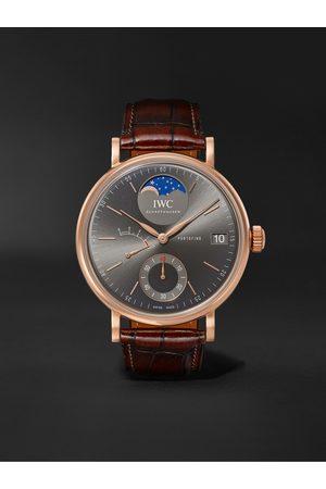 IWC SCHAFFHAUSEN Homem Relógios - Portofino Hand-Wound Moon Phase 45mm 18-Karat Rose Gold and Alligator Watch, Ref. No. IW516403