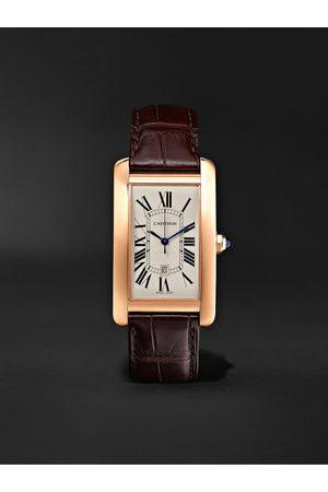 Cartier Tank Américaine Automatic 45mm 18-Karat Pink Gold and Alligator Watch, Ref. No. CRW2609156