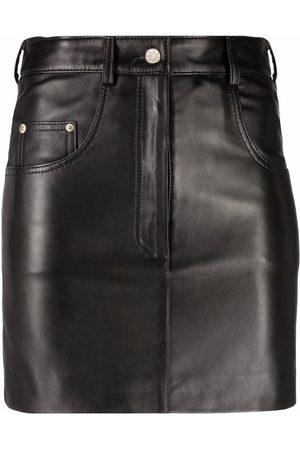 Manokhi Mulher Mini-saias - Five-pocket leather mini skirt