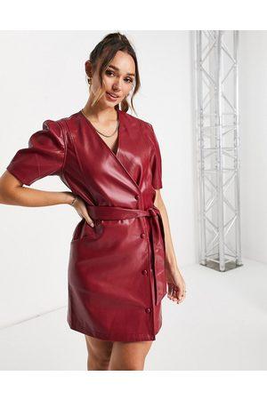 VERO MODA Mulher Vestidos de Festa - Faux leather mini wrap dress with puff sleeve in dark red