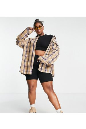 PUBLIC Mulher Casual - Oversized check shirt in beige-Multi