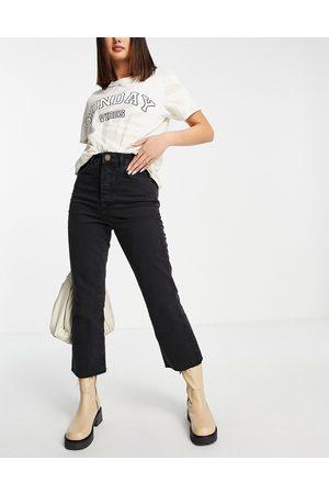River Island Mulher Bootcut & Boca-de-sino - High waisted kick flared jeans in black