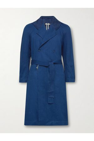 11.11/eleven eleven Indigo-Dyed Organic Linen and Cotton-Blend Trench Coat
