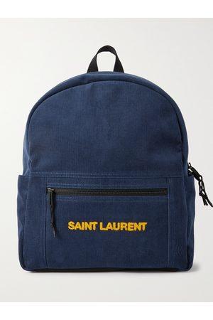 Saint Laurent Homem Mochilas - Logo-Embroidered Cotton-Corduroy Backpack