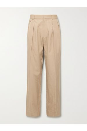 The Row Homem Calças Formal - Marcello Wide-Leg Pleated Silk and Cotton-Blend Twill Trousers