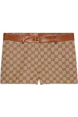 Gucci GG-canvas leather-trim shorts