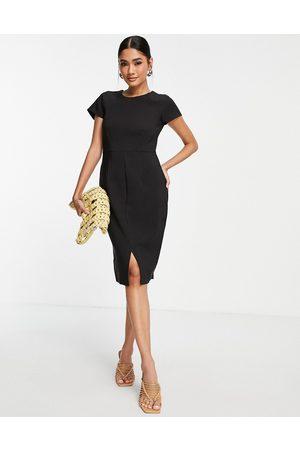 Closet Cap sleeve split pencil dress in black